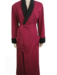 Burgundy & Black Bathrobe