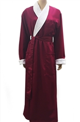 Burgundy & White Bathrobe