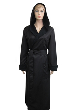 Black & Black Hooded Bathrobe