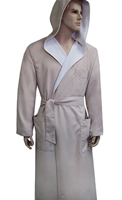 Stone & White Hooded Bathrobe